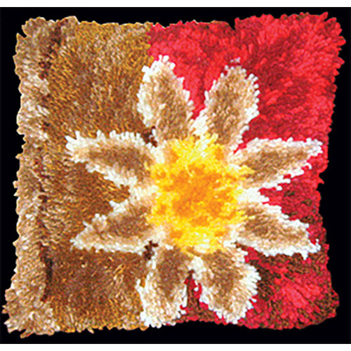 Red Floral Geometric Latch Hook Pillow Kit