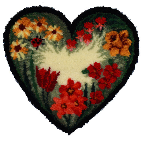 Summer Floral Heart Latch Hook Rug Kit