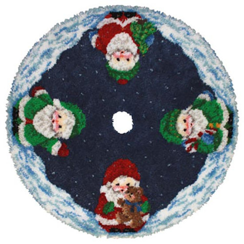 Santa Latch Hook Christmas Tree Skirt Kit