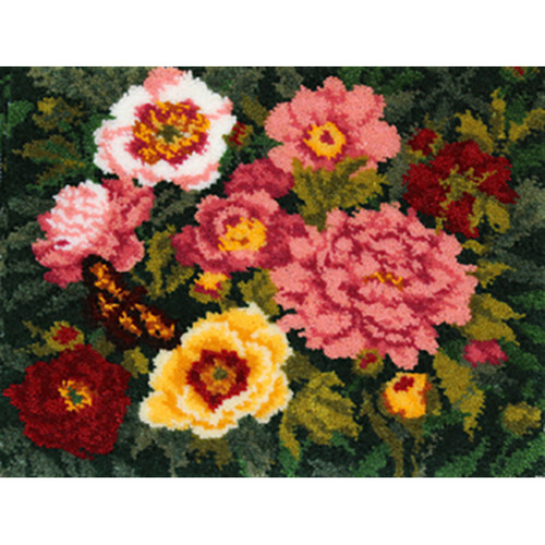 Peonies Latch Hook Rug Kit