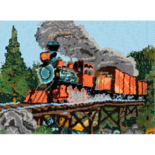 Steam Locomotive Train Latch Hook Rug Kit