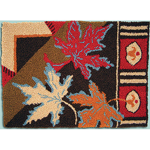 Geometric Leaves Punch Needle Rug Kit