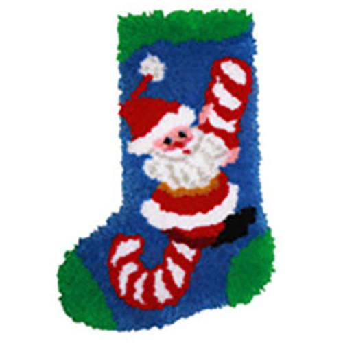 Candy Cane Santa Latch Hook Christmas Stocking Kit