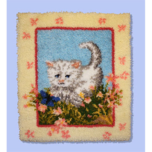 Kitty and Flowers Latch Hook Rug