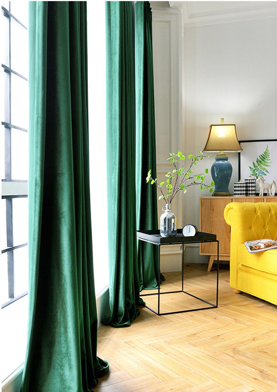 Pair Of Velvet Curtains In Emerald Green Custom Curtains