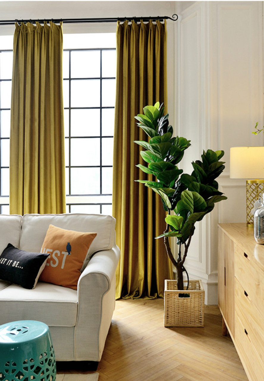 Pair Of Velvet Curtains In Gold Yellow Custom Curtains