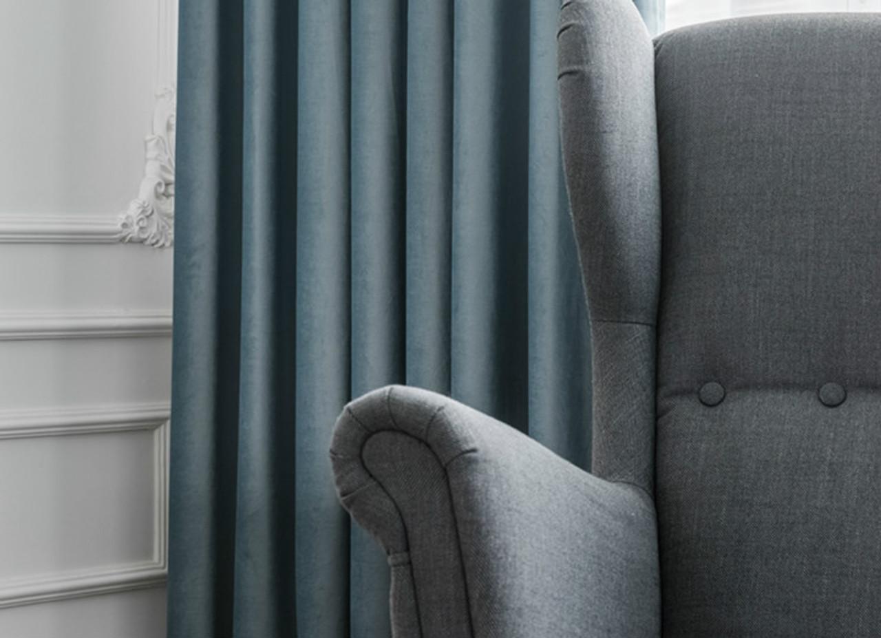 Pair Of Velvet Curtains In Carolina Blue Custom Curtains