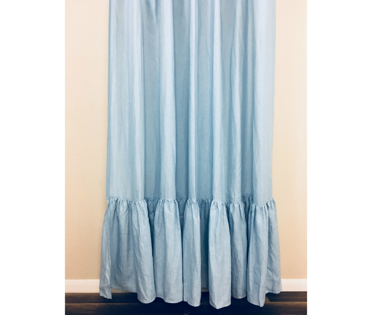 Blue Linen Shower Curtain With Mermaid Long Ruffles