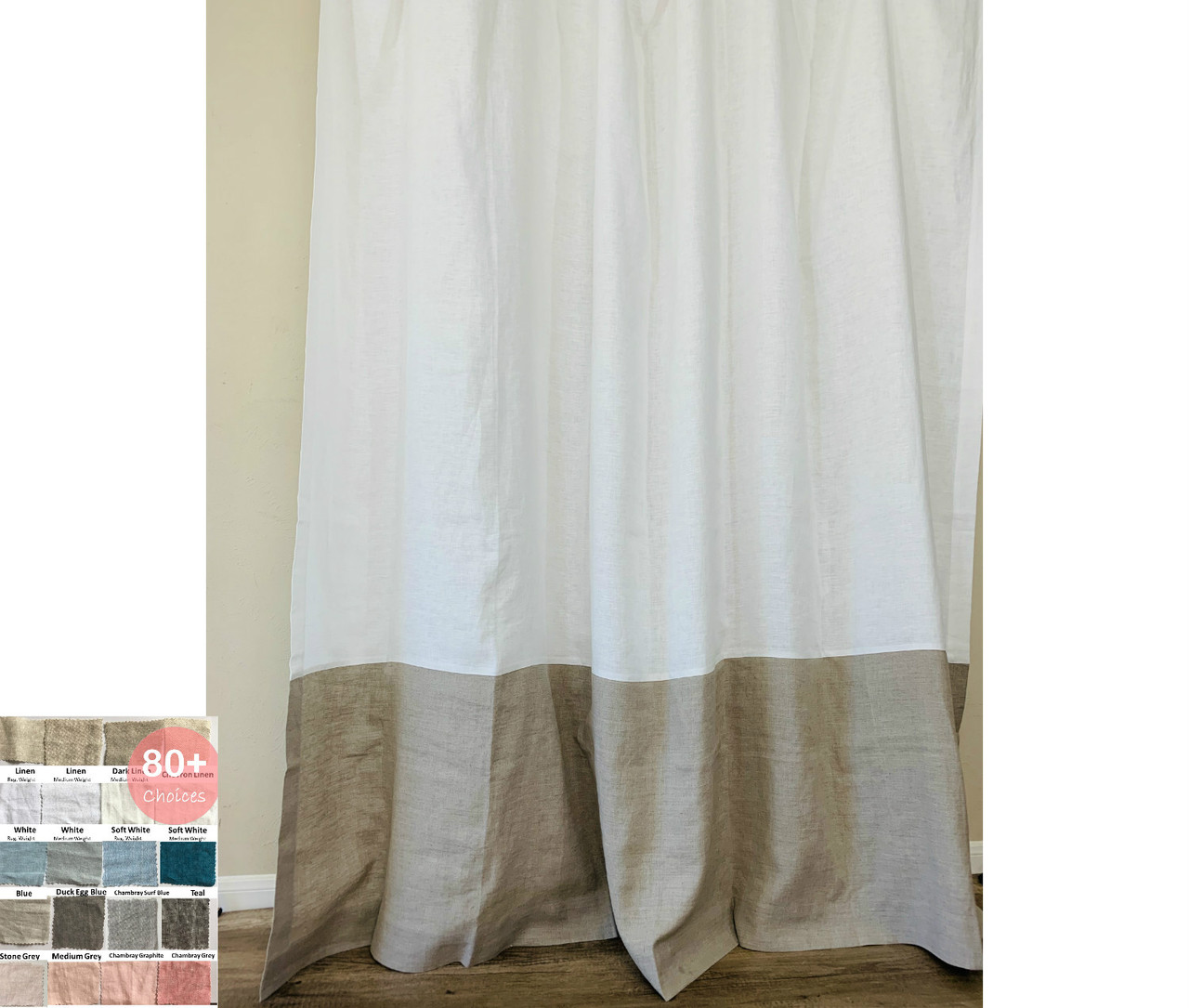 Color Block Natural Linen Shower Curtain Pick Your Color