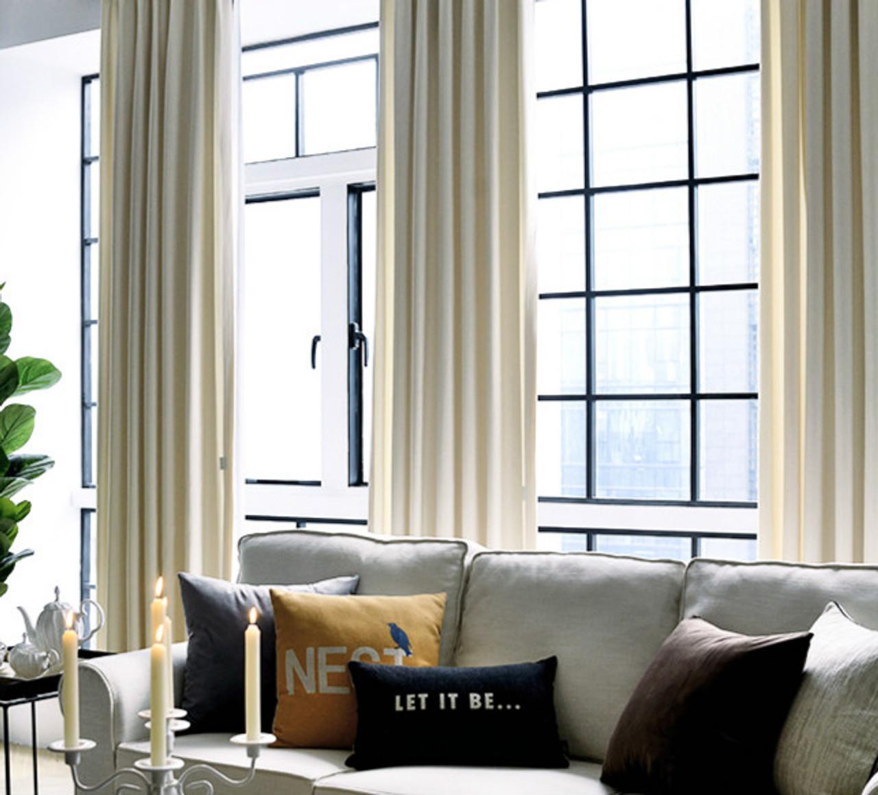 Pair Of Velvet Curtains In White Custom Curtains