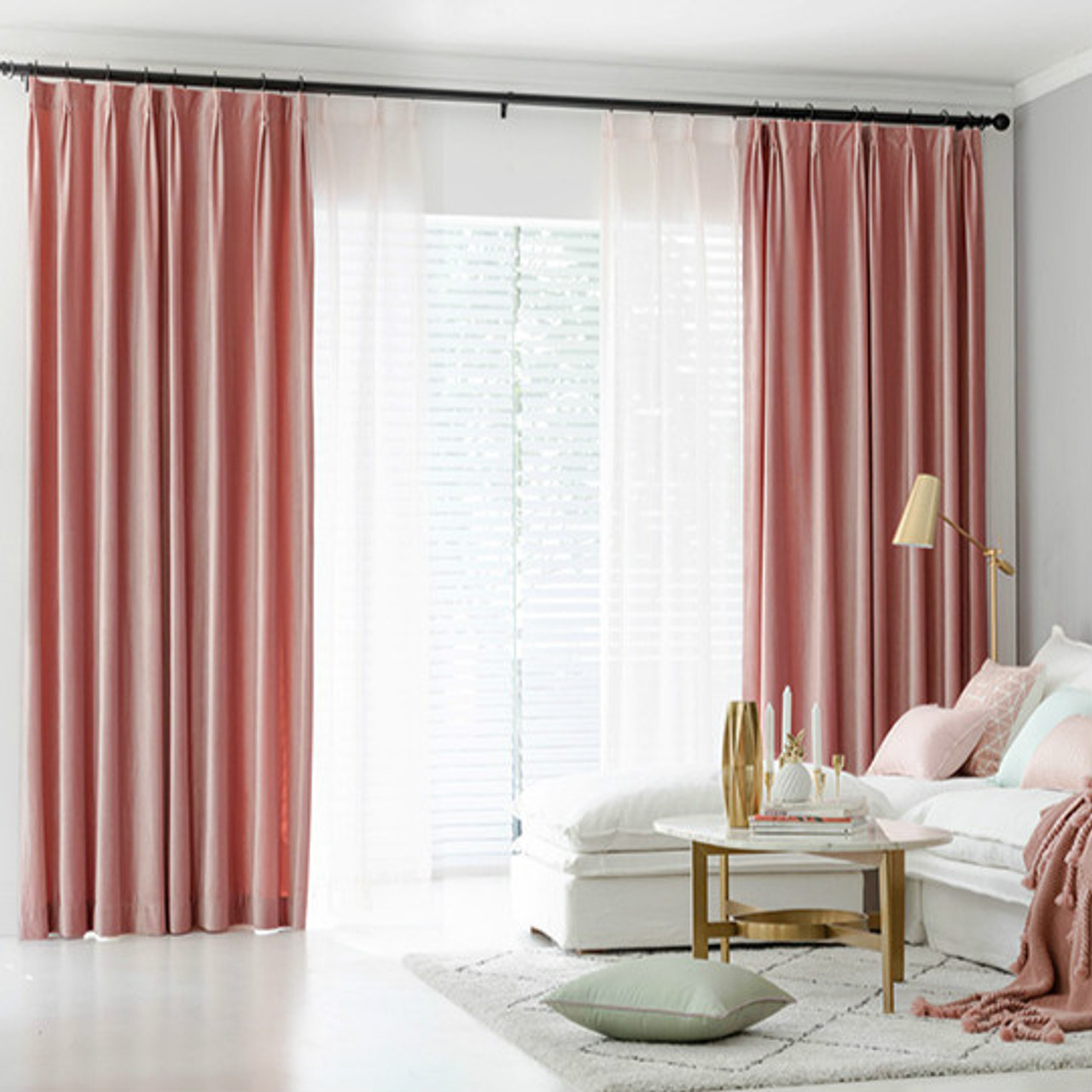 Pair Of Velvet Curtains In Rose Pink Custom Curtains