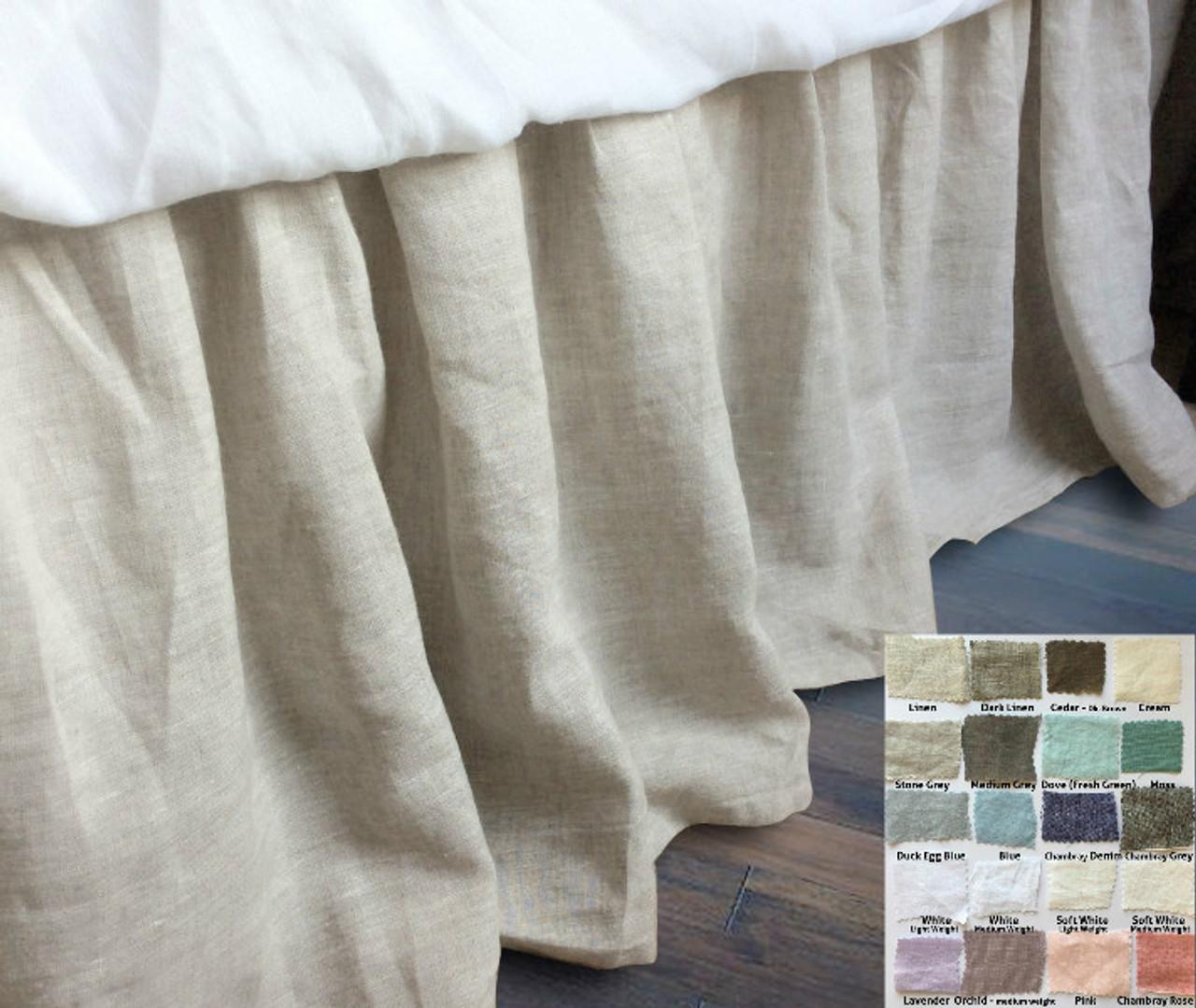 Linen Gathered Bed Skirt 40 Fabric Choices Custom Drop Length