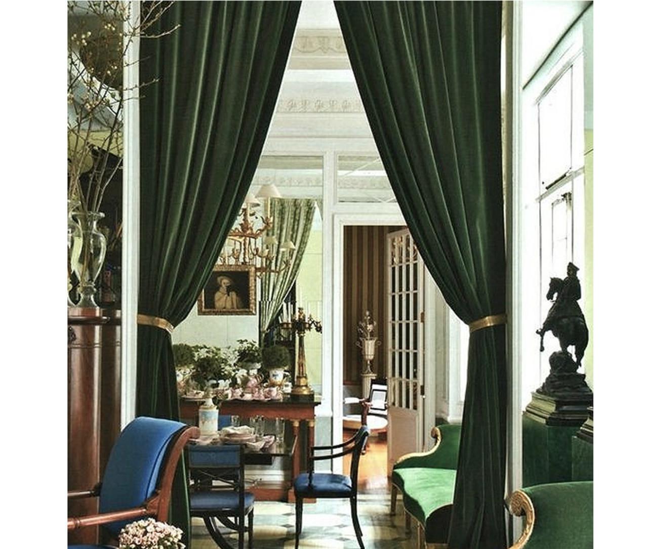Pair Of Velvet Curtains In Hunter Green
