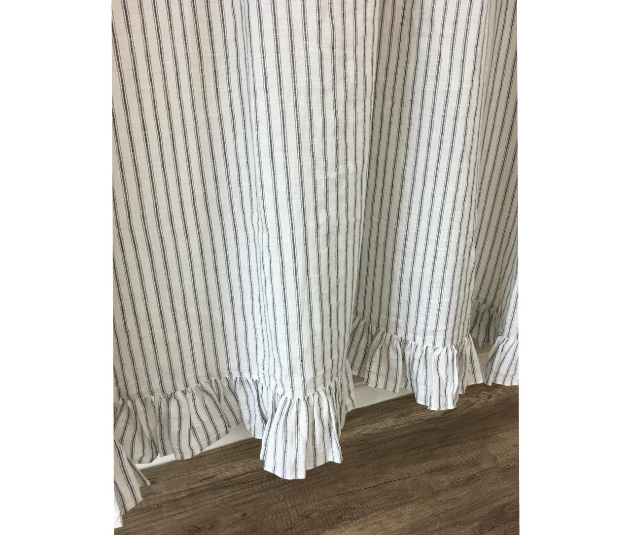 Iron And White Ticking Stripe Linen Shower Curtain With Ruffle Hem