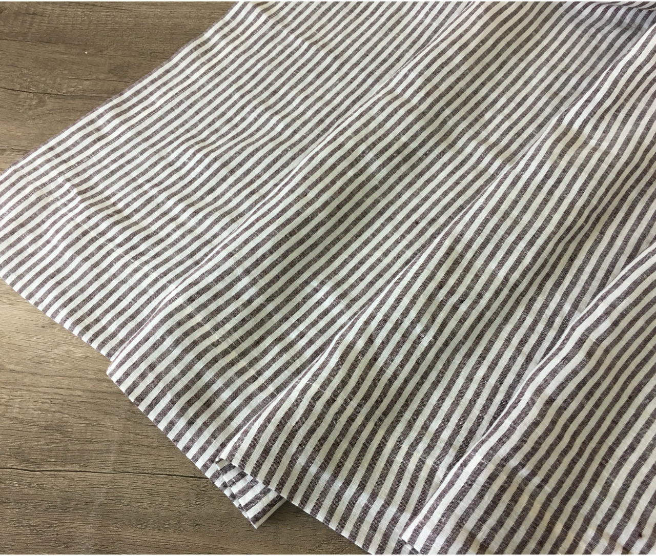 Cocoa Brown And White Striped Linen Shower Curtain