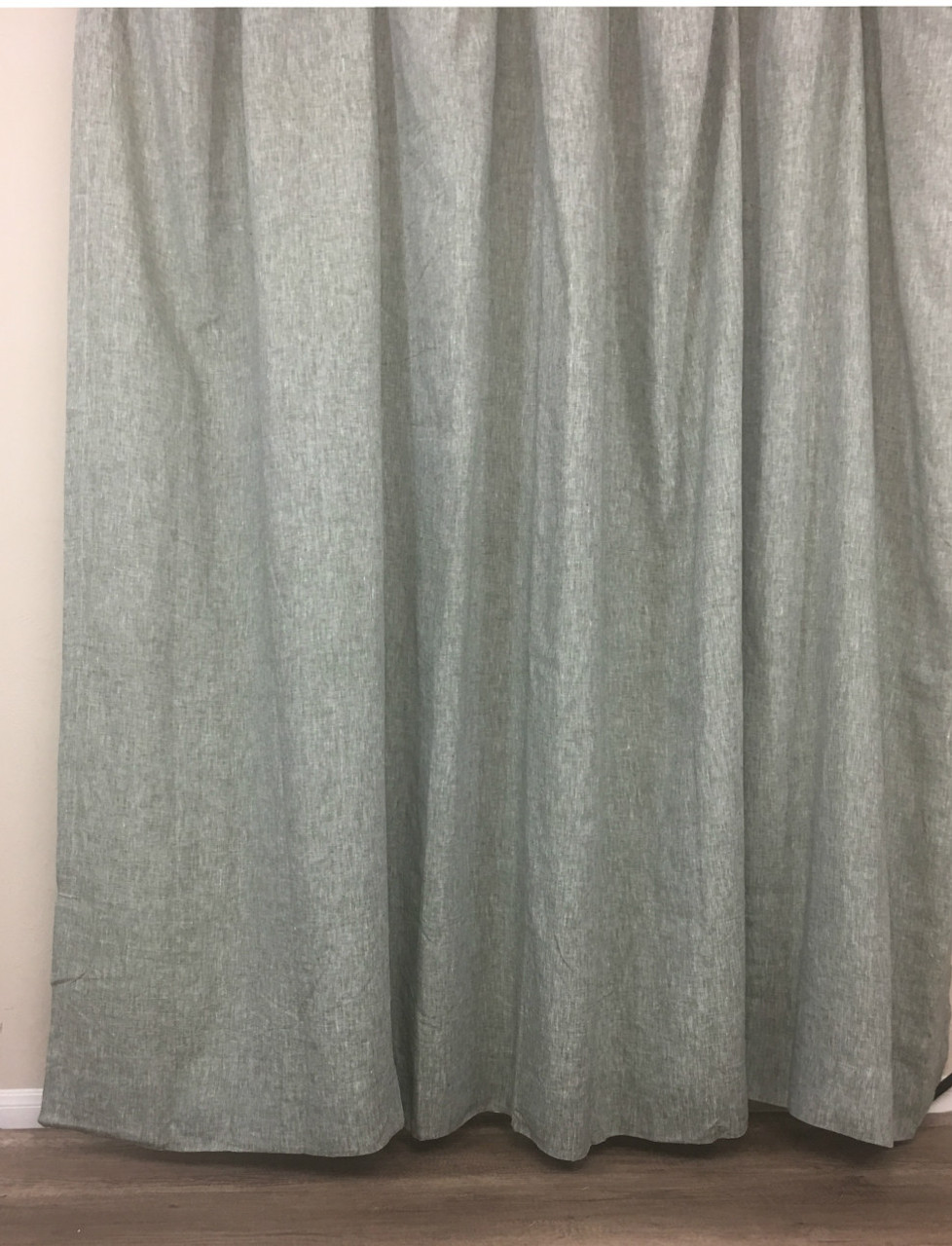 Chambray Olive Green Linen Shower Curtain
