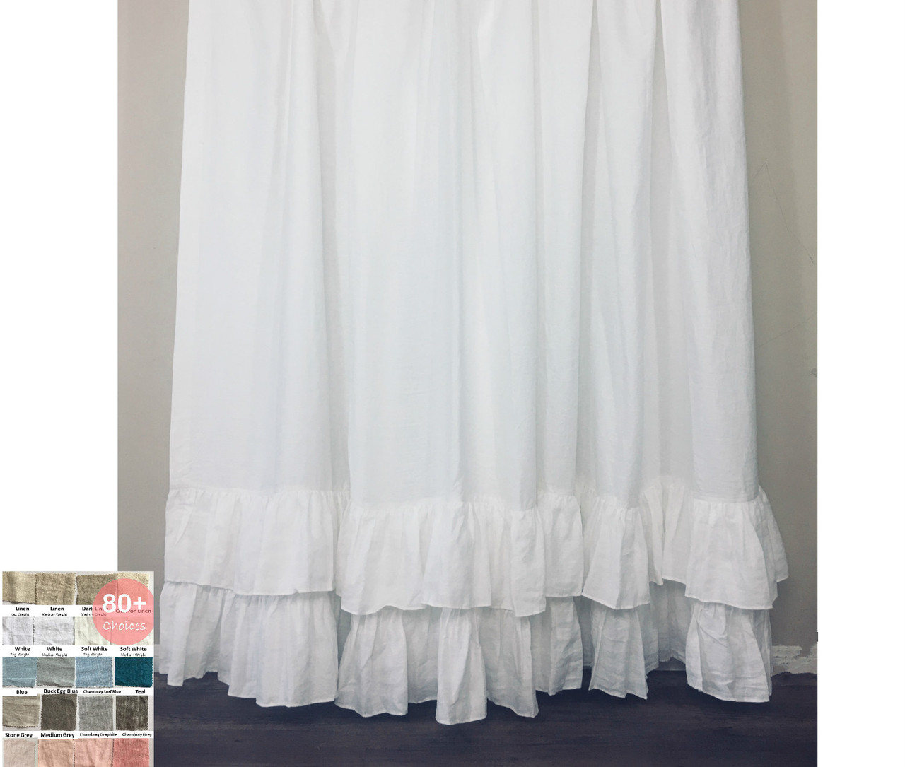 Linen Shower Curtain With Two Tiered Of Mermaid Long Ruffles Pick Color