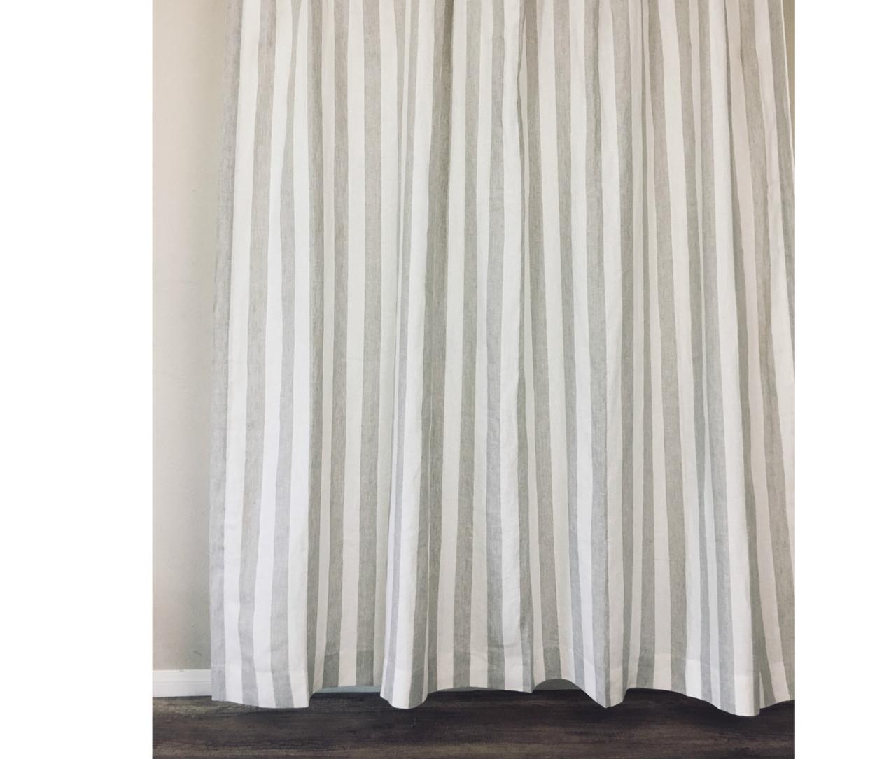 Natural Linen Striped Shower Curtain