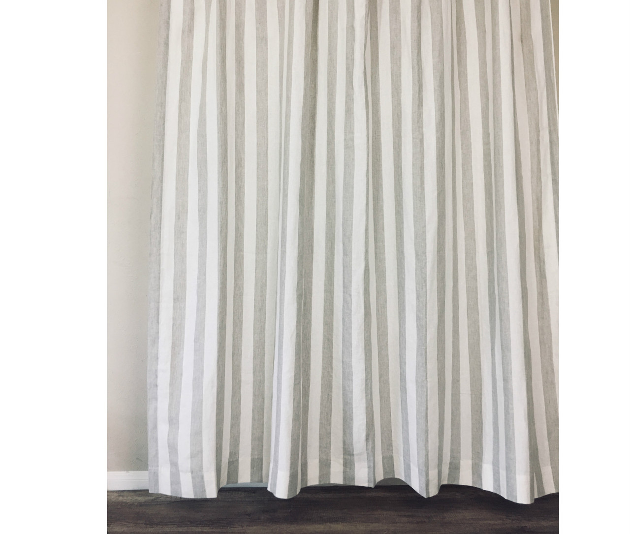 Natural Linen Striped Shower Curtain