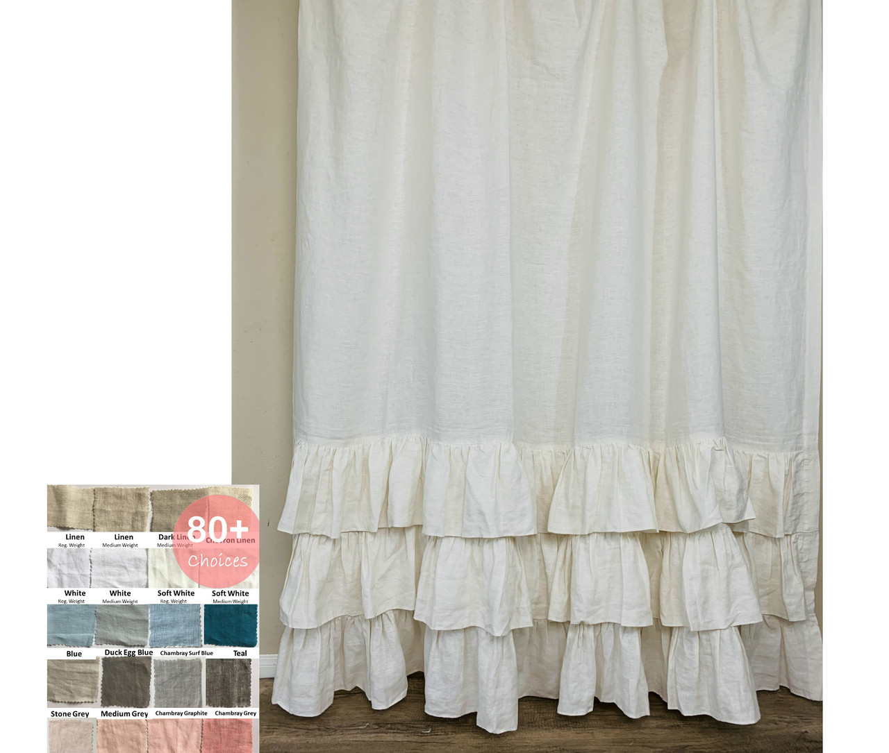 Linen Shower Curtain With Three Tiered Of Mermaid Long Ruffles Pick Color