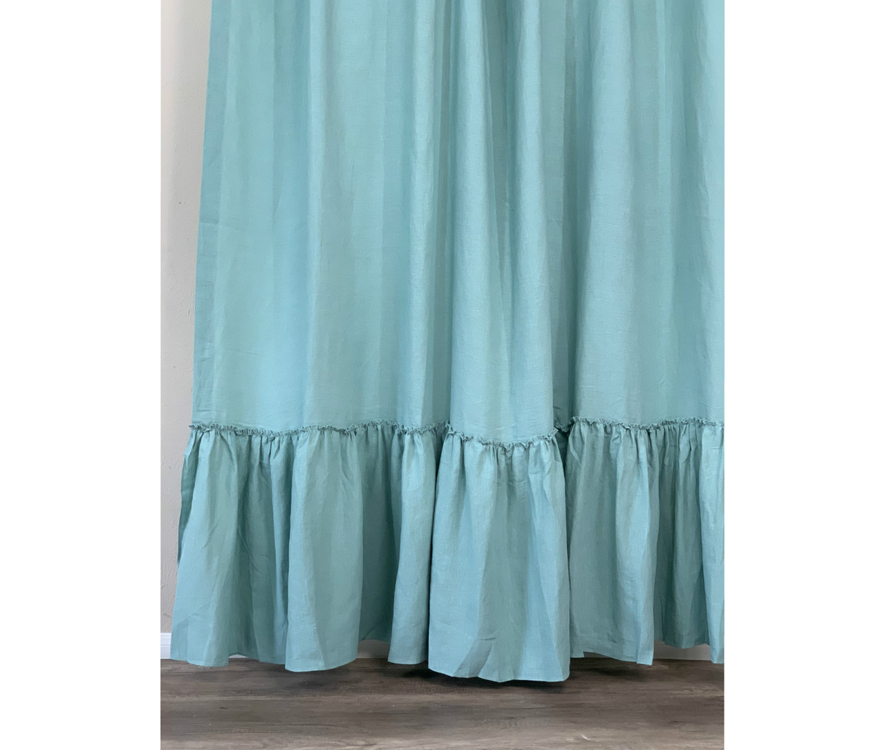 Moss Green Linen Shower Curtain With Country Mermaid Long Ruffles