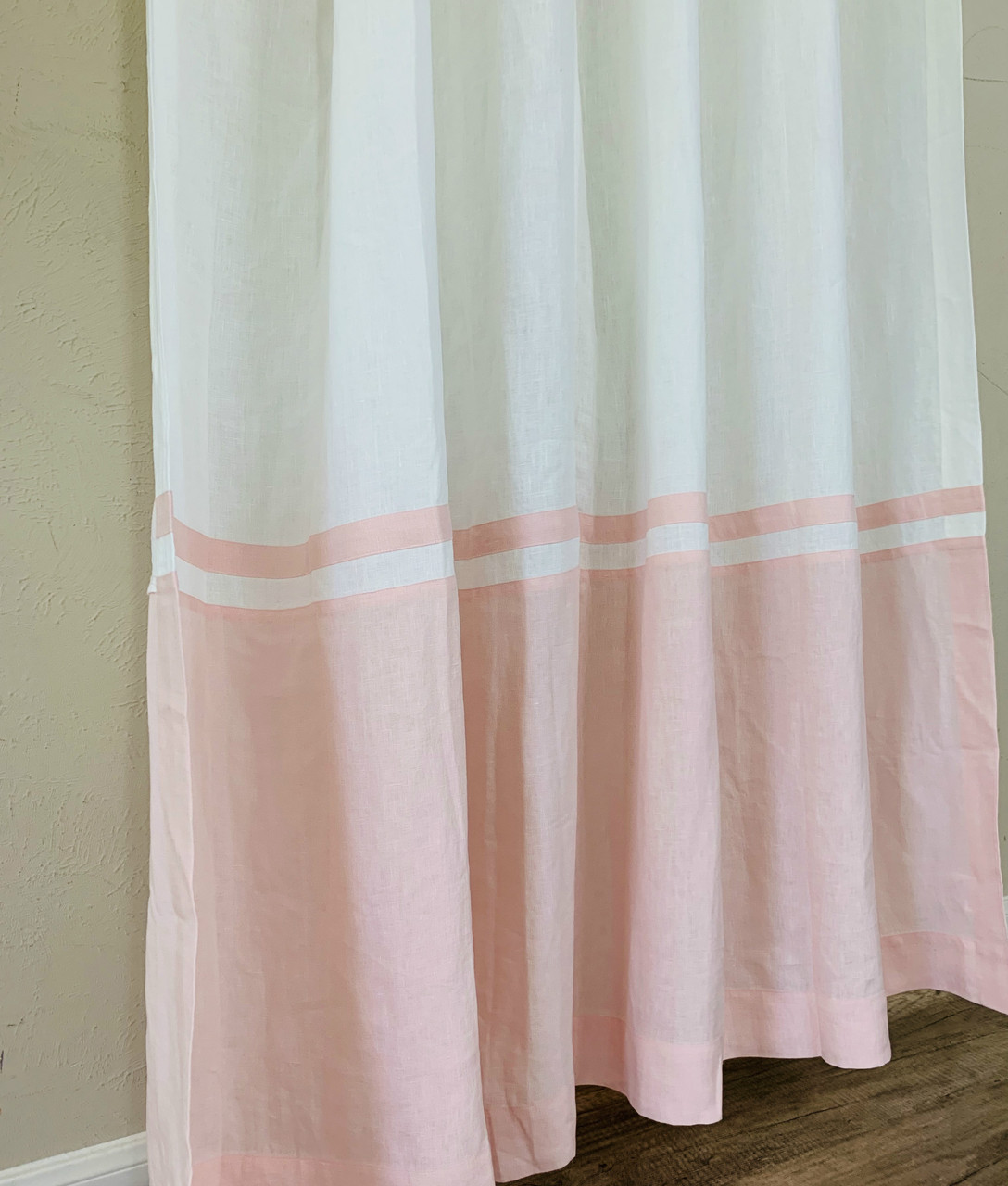 White Linen Shower Curtain With Dogwood Pink Linen Block And Stripe