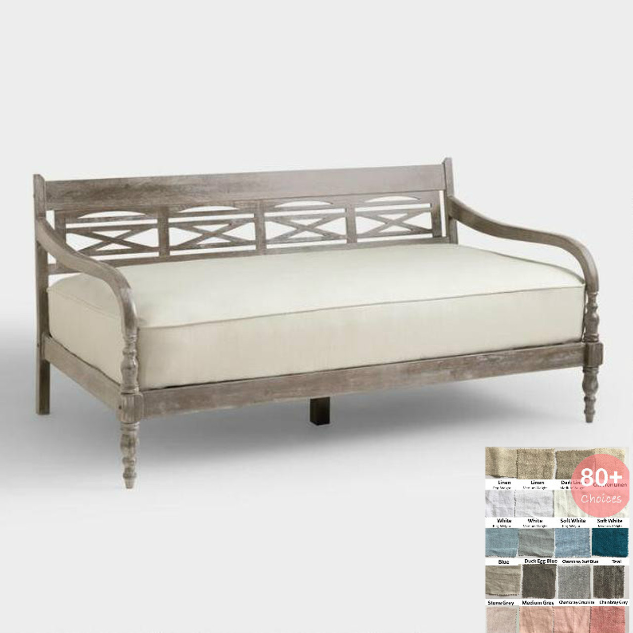 - Natural Linen Daybed Slipcover, Upholstered Daybed Fitted Mattress