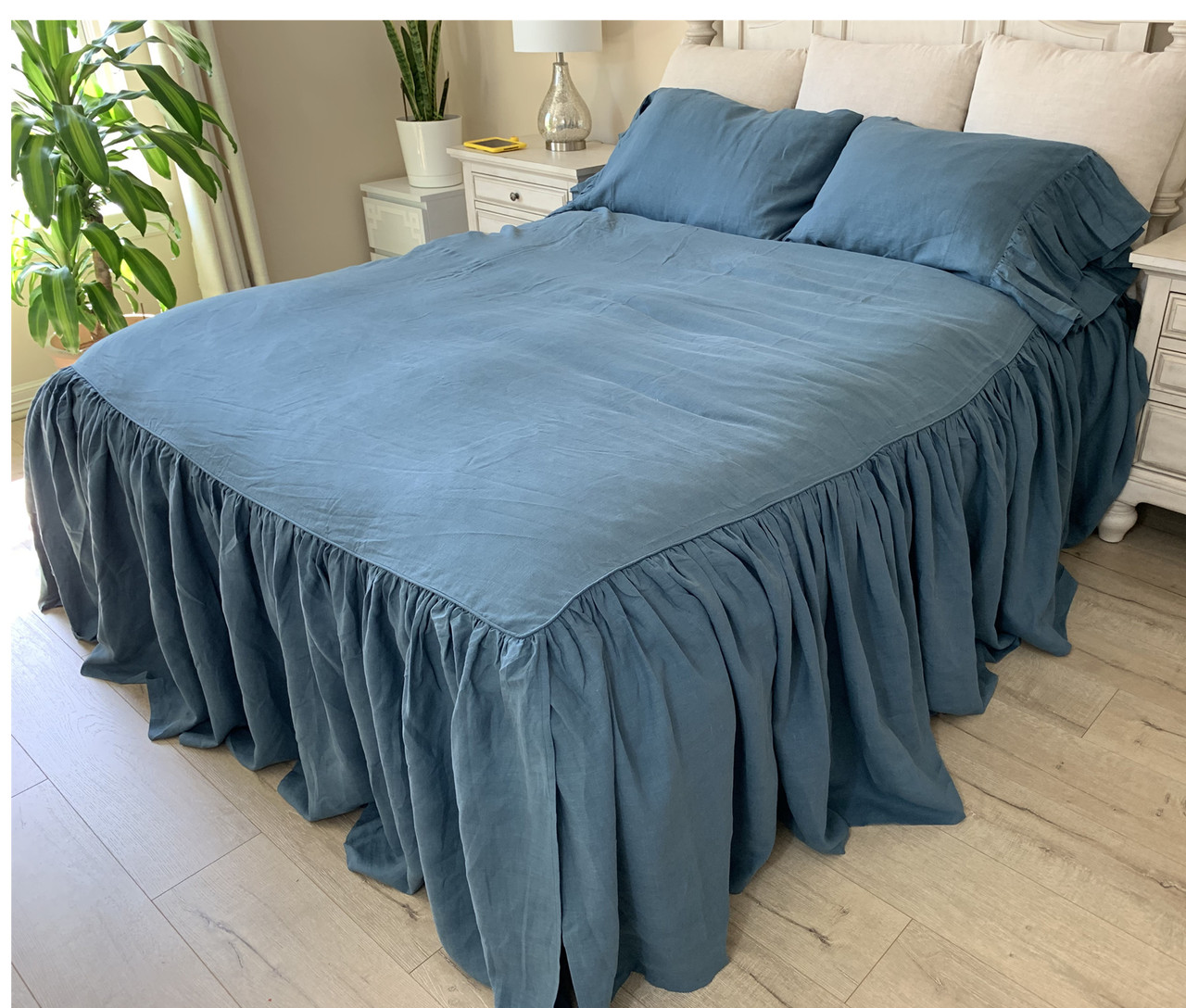 Dark Linen Bed Cover Luxury Bedding Handcrafted By Superior Custom Linens