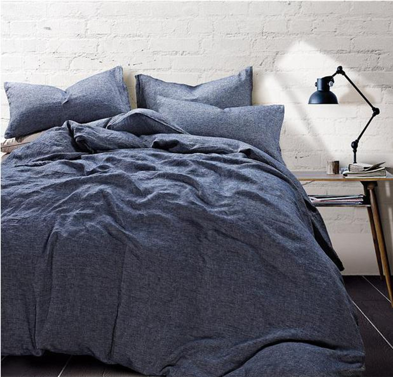 Chambray Denim Duvet Cover Natural Linen Chambray Bedding Custom Size Queen King Calif King Twin