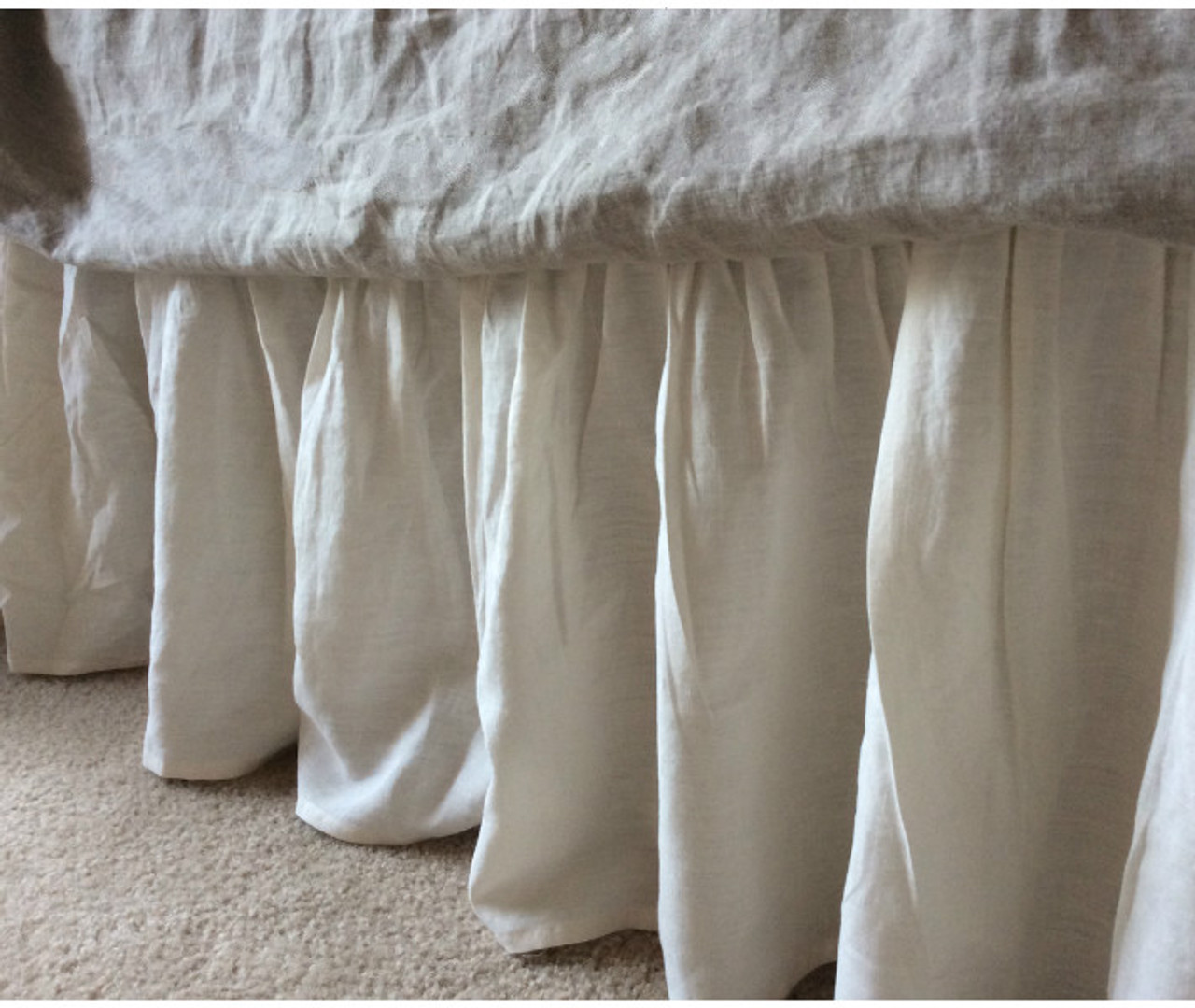Linen Bed Skirt King.Cream Gathered Linen Bed Skirt