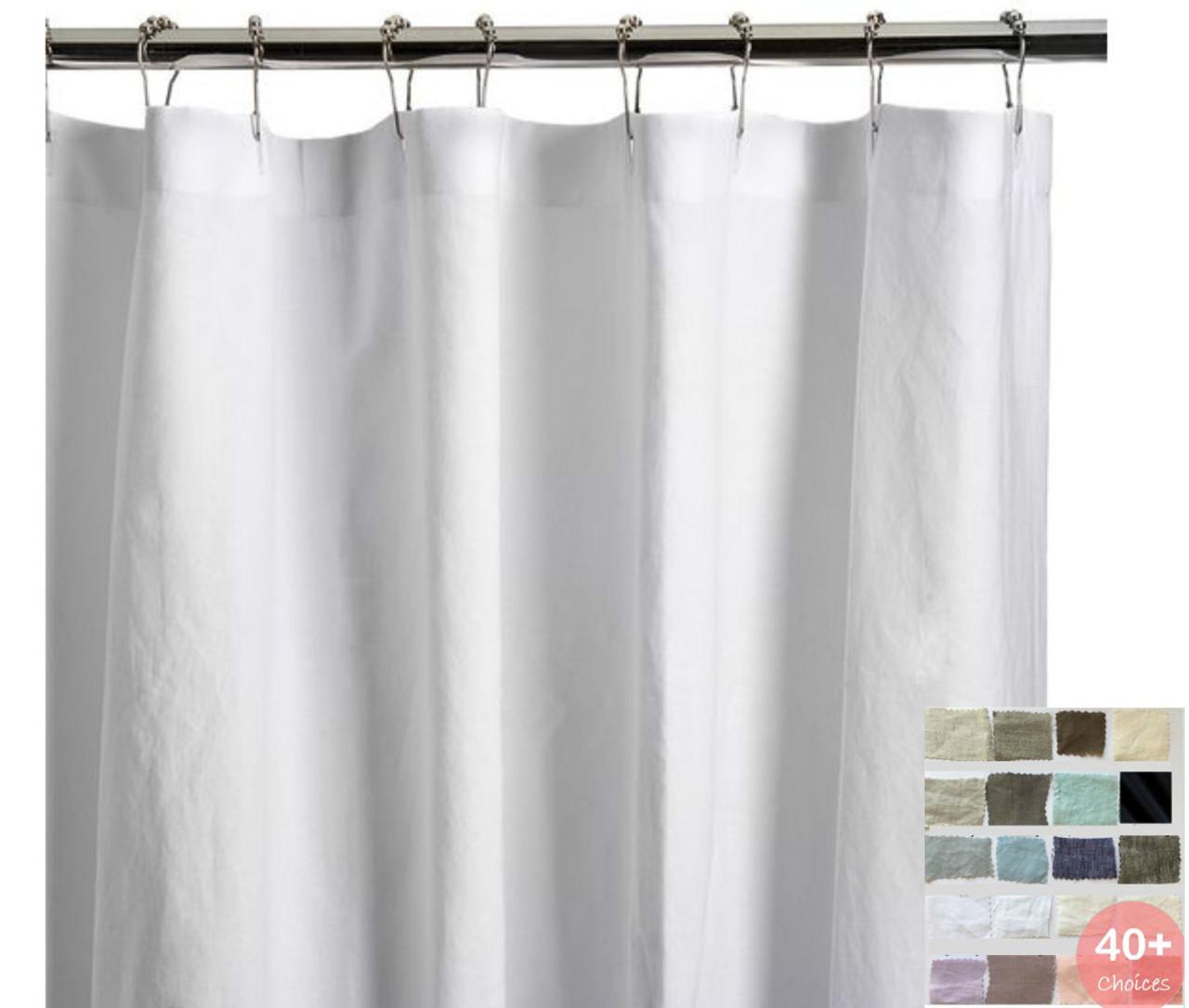 Natural Linen Shower Curtain 45 Linen Fabric Choices