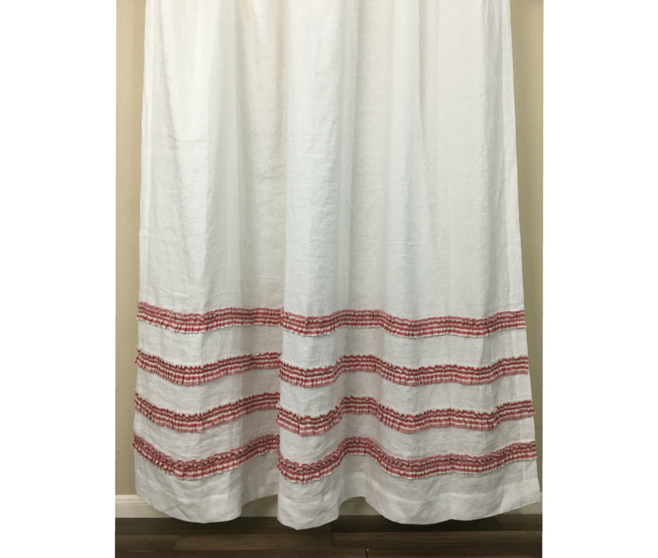 White Shower Curtain With Red Ticking Stripe Ruffle
