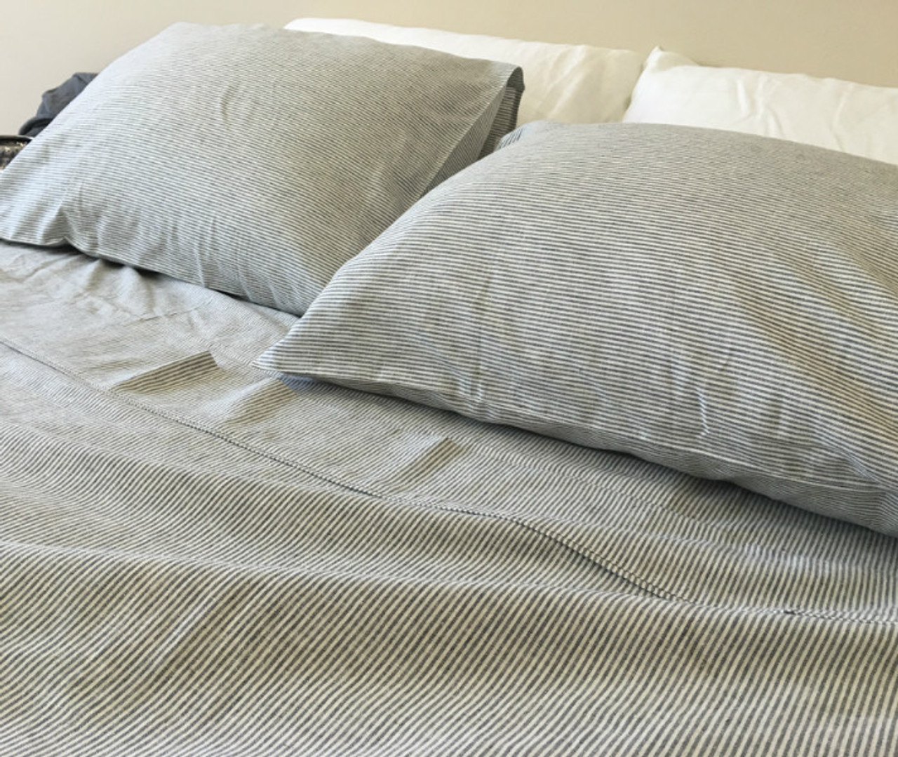 Black And White Striped Bed Sheets Handcrafted By Superior Custom