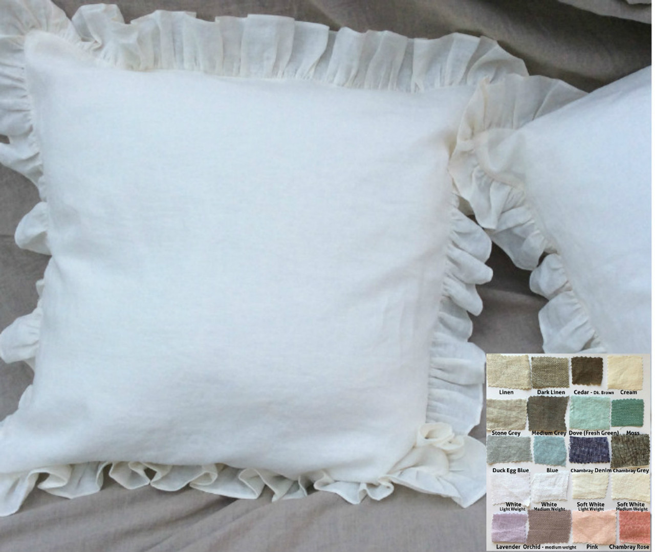 Ruffle Euro Sham Natural Linen White Grey Cream Pink Blue Stripe Chevron 40 Colors Custom Size 16x16 18x18 20x20 24x24 26x26 30x30 28x28