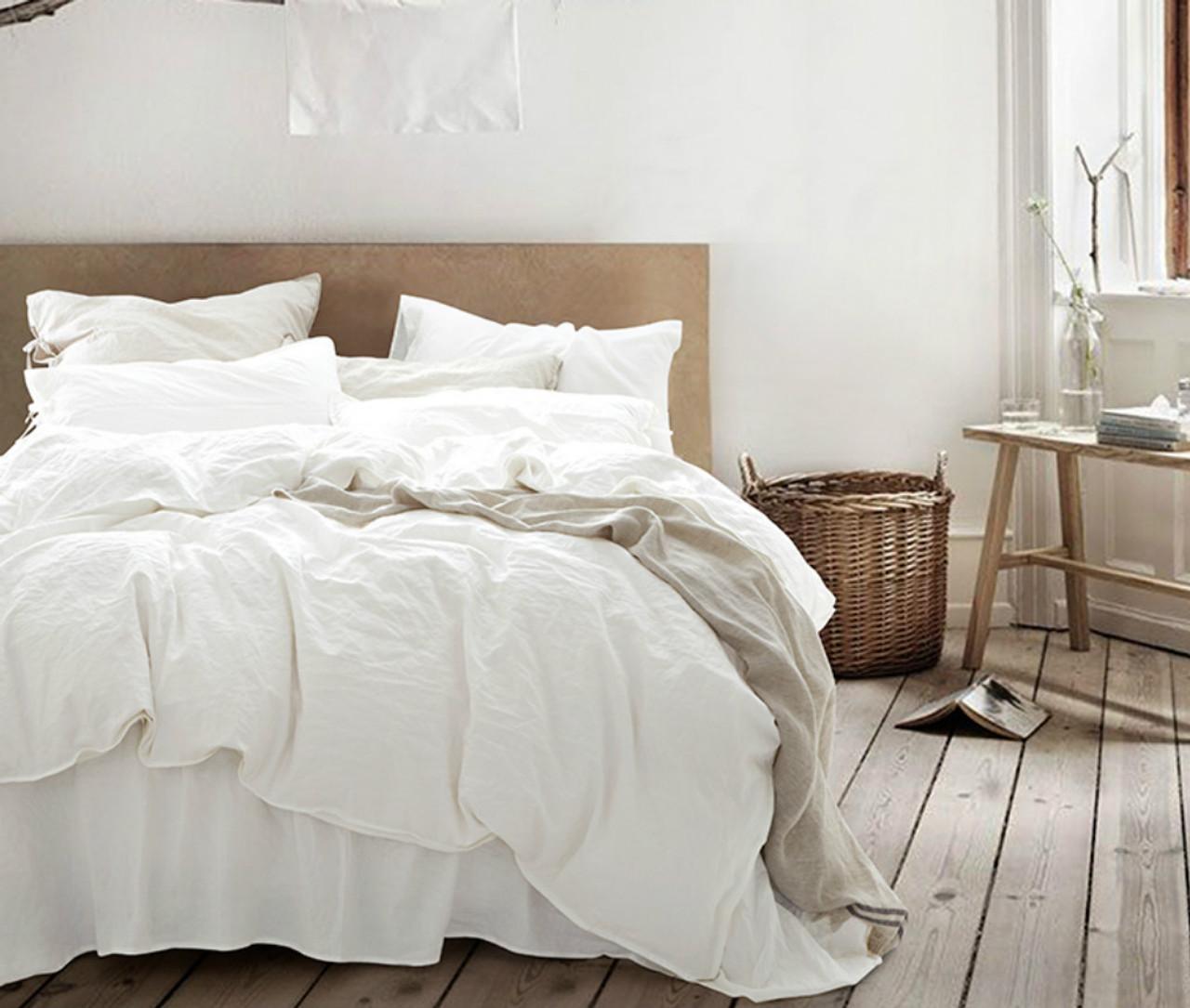 White Duvet Cover, Natural Linen, Custom Size, Queen/King/Calif