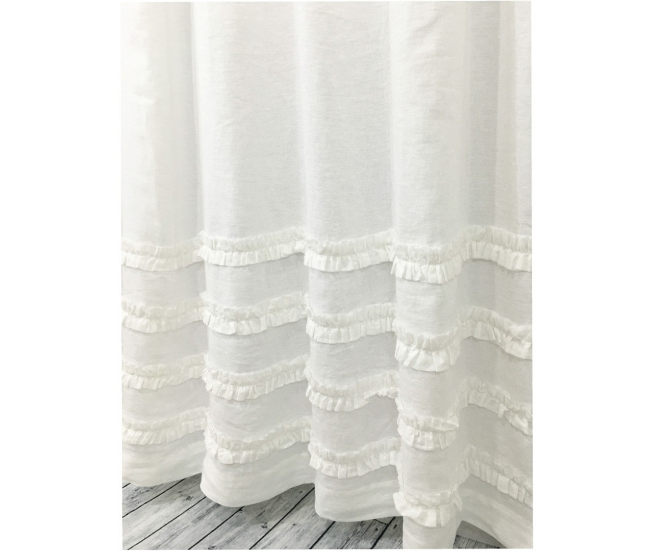 White Linen Shower Curtain With 4 Rows Of White Ruffle