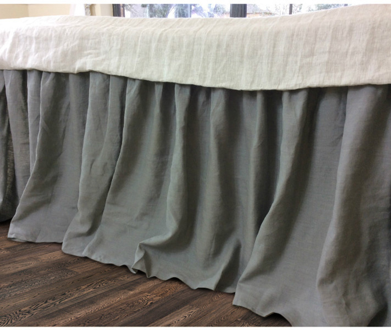 Linen Bed Skirt King.Medium Grey Gathered Linen Bed Skirt