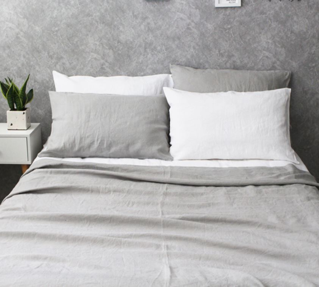 Stone Light Grey Duvet Cover Natural Linen Free Linen Swatches