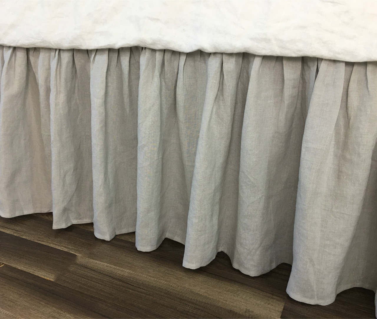 Stone Grey Bed Skirt Up To 24 Drop 100 Natural Linen Handcrafted By Superior Custom Linens