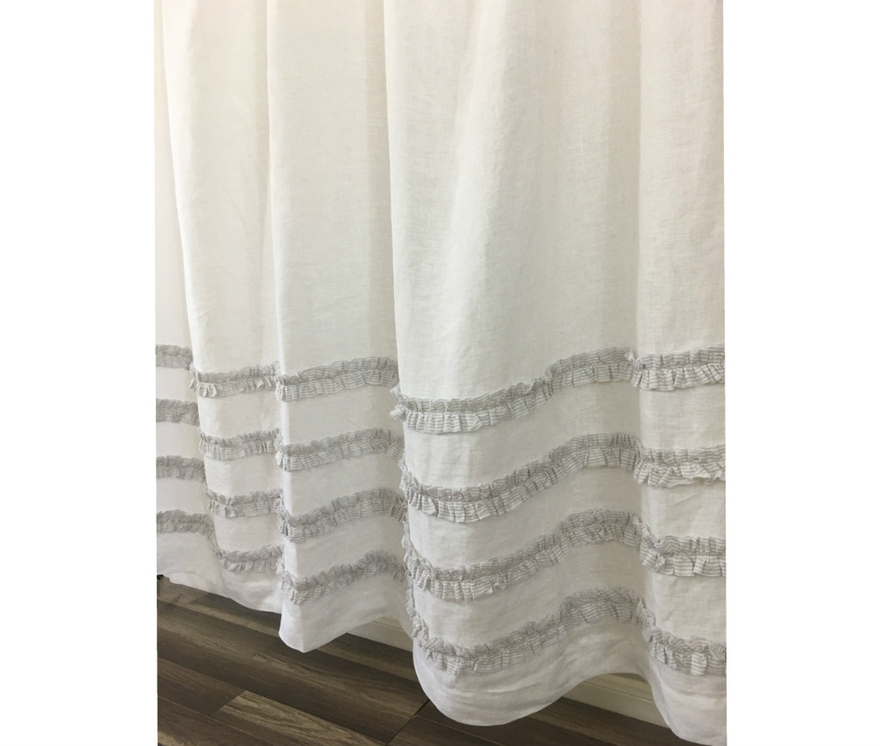 Grey Ticking Stripe Ruffle Shower Curtains