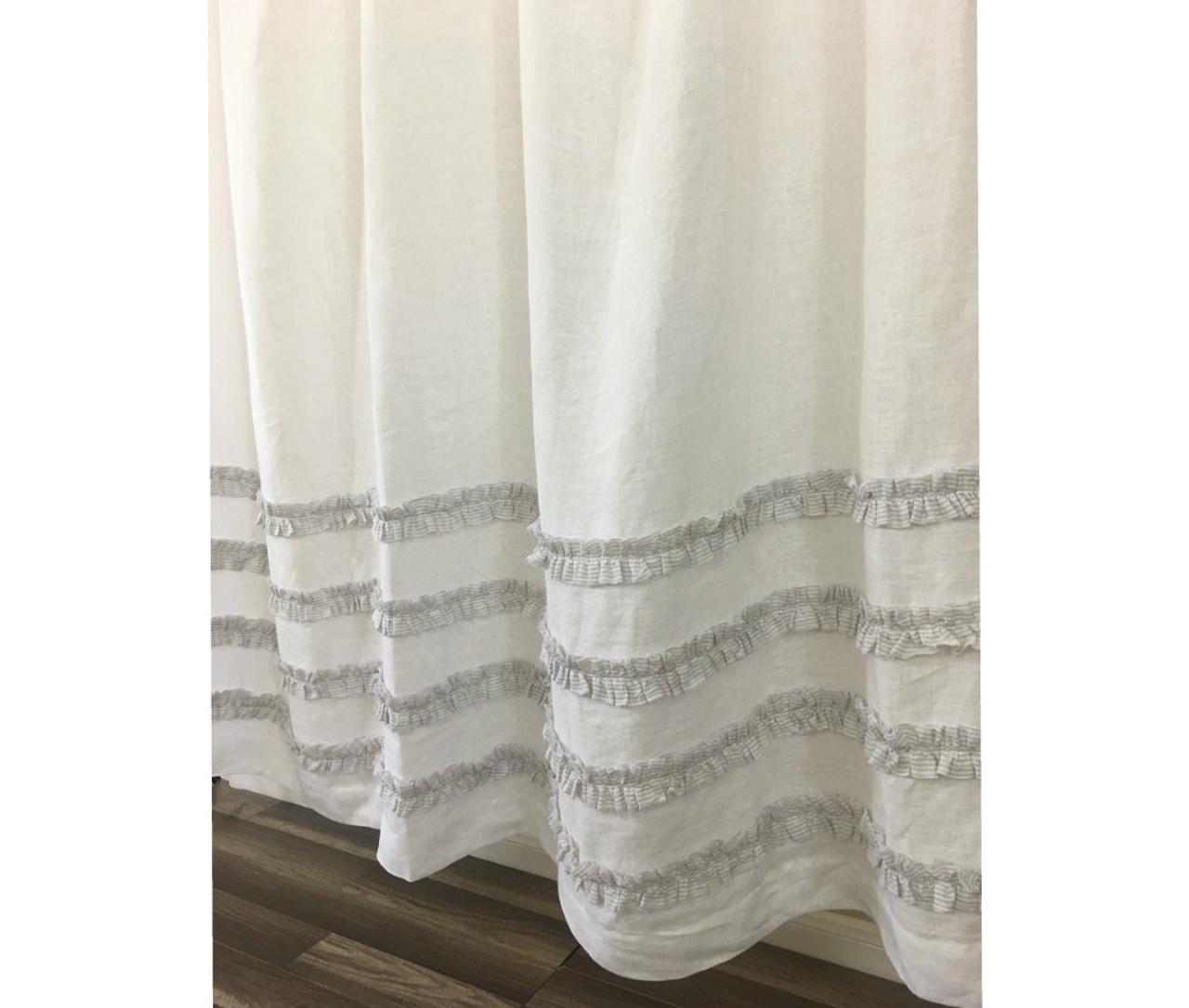 White Shower Curtain With Stone Grey Ticking Stripe Ruffle