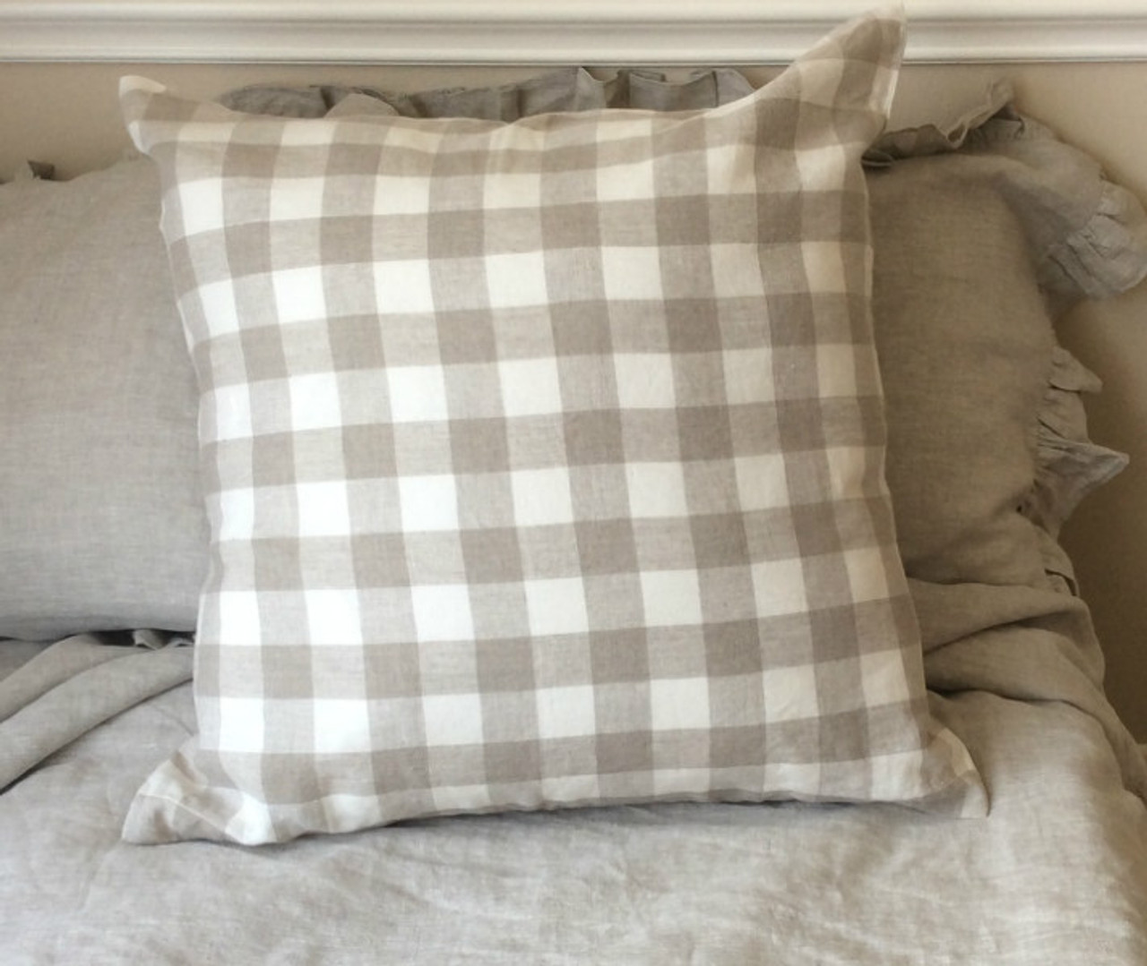 Natural Linen Buffalo Check Euro Sham Covers 16x16 To 28x28 All