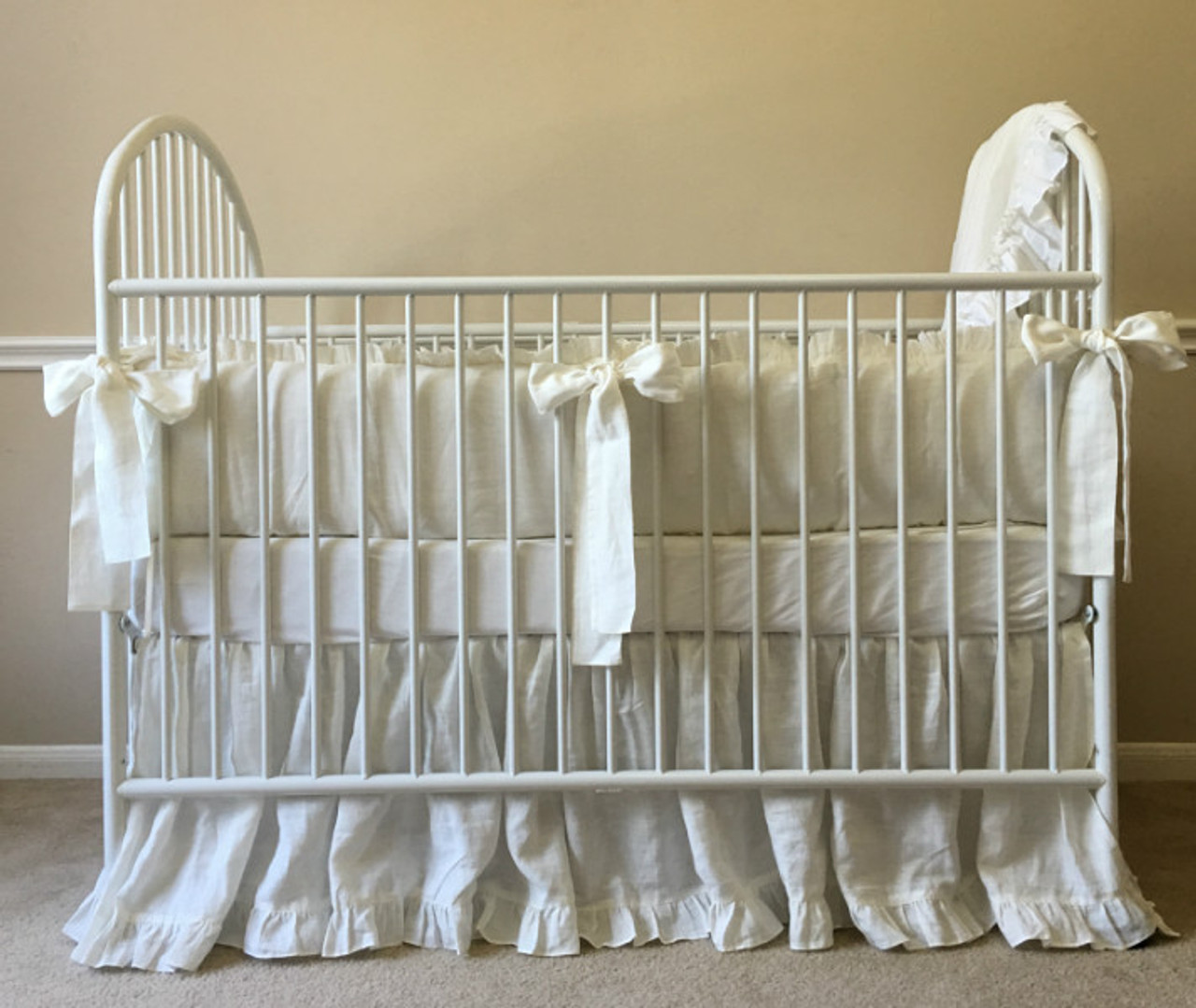 White Crib Bedding Set Ruffled Bumper Meets Gathered Skirt Handcrafted By Superior Custom Linens