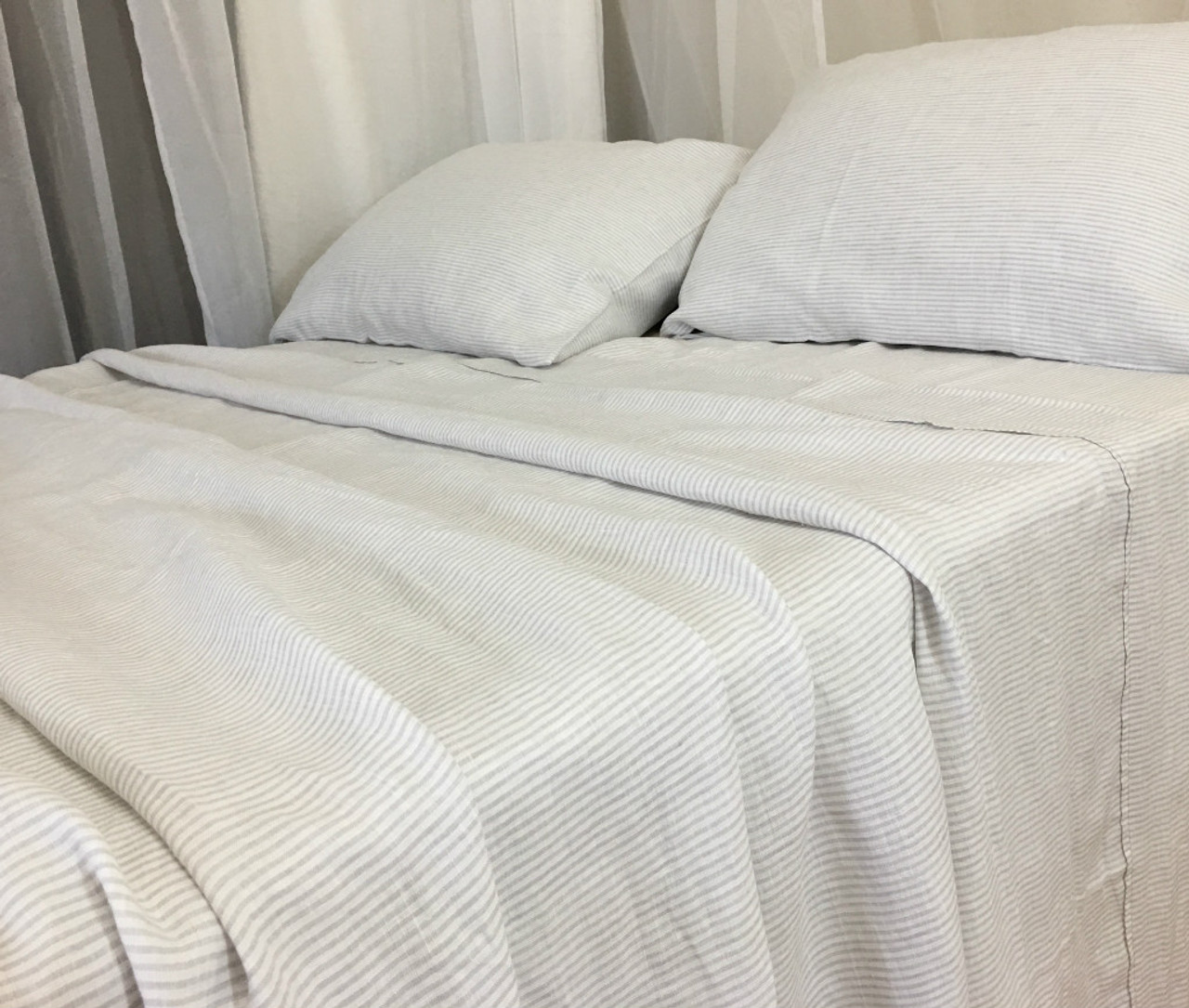 Stone Grey And White Striped Bed Sheets Handcrafted By Superior