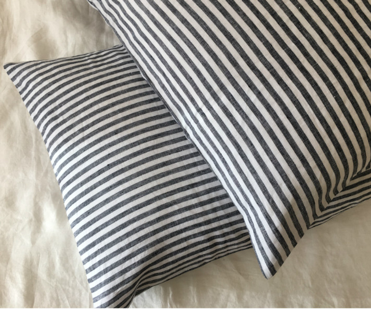 Slate Gray And White Striped Linen Euro Sham Cover