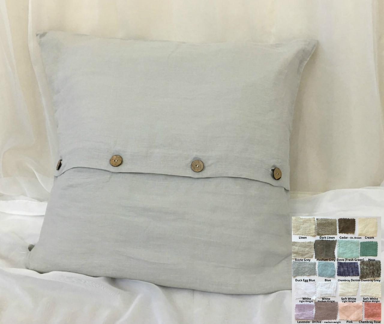 Euro Sham With Buttons Natural Linen White Grey Cream Pink Blue Stripe Chevron 40 Colors Custom Size 16x16 18x18 20x20 24x24 26x26 30x30 28x28