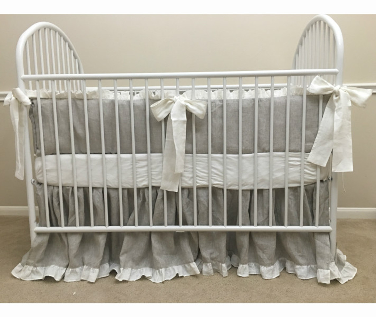 Grey And White Crib Bedding Gender Neutral Baby Bedding Handcrafted By Superior Custom Linens