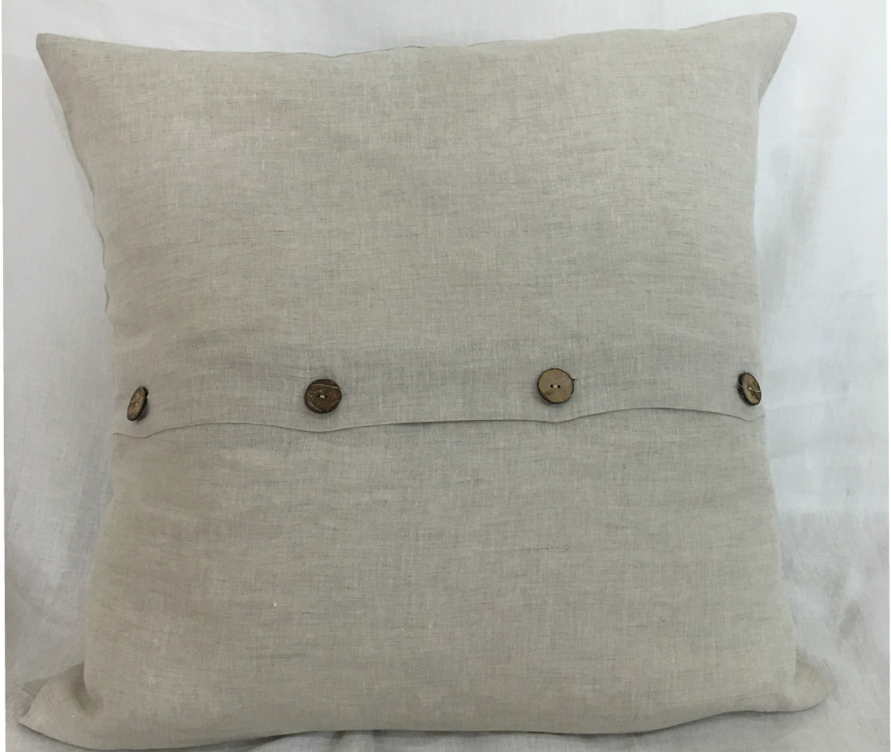 Natural Linen Euro Sham Covers With Wooden Buttons 16x16 To 30x30 All Sizes Handcrafted By Superiorcustomlinens Com