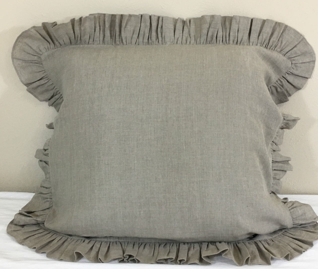 Dark Linen Euro Sham With Self Ruffle Handcrafted By Superiorcustomlinens Com