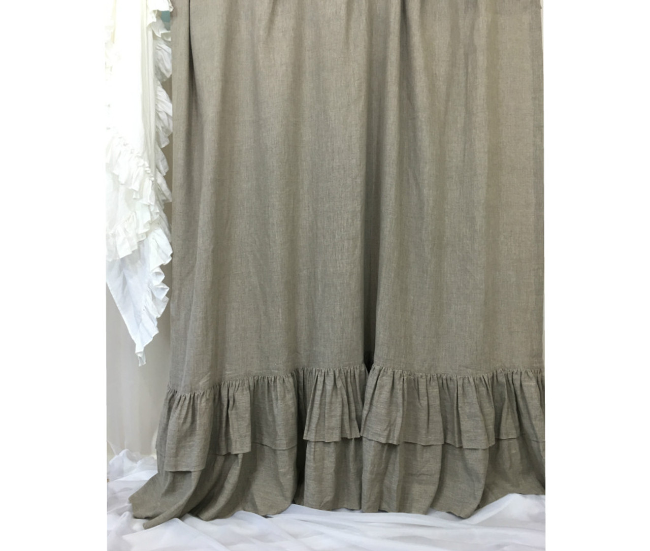 Dark Linen Shower Curtains With Double Layers Of Mermaid Long Ruffles